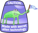 The Lisp Alien Mascot; Made with secret alien technology