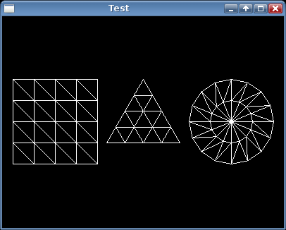 Screenshot of a rectangle mesh, a triangle mesh, and a circle mesh.