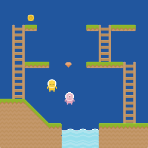 Screenshot showing a game level with two characters, a coin, and a gem.