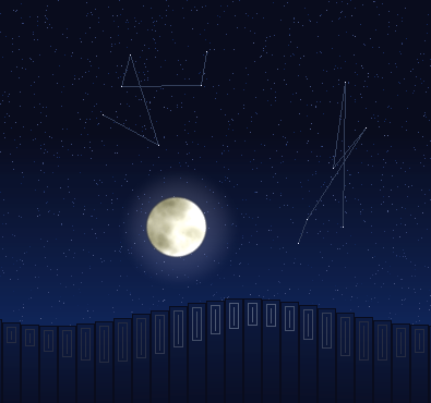 Screenshot of a graphics demo showing waves, the moon, stars, and constellations.